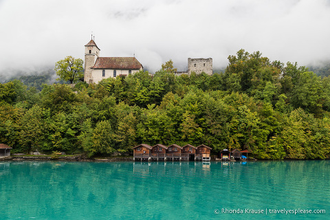 Lake Brienz and Ringgenberg church and castle ruins