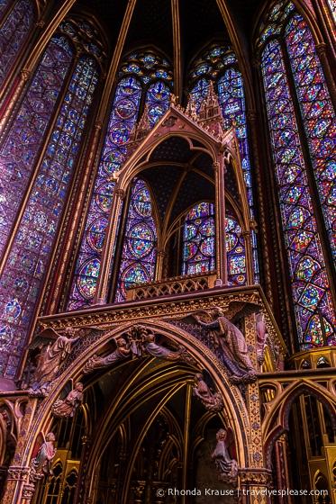 Stained glass inside Sainte-Chapelle, Paris.