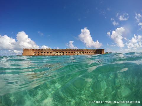 Fort Jefferson seen while snorkeling.
