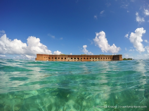 Water surrounding Fort Jefferson in Dry Tortugas National Park.