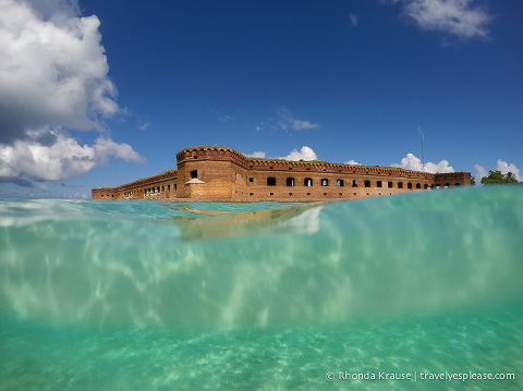 Fort Jefferson seen while snorkeling at  Tortugas National Park.