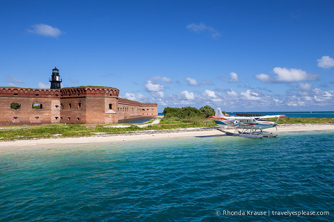 Sea plane in front of Fort Jefferson at  Tortugas National Park.