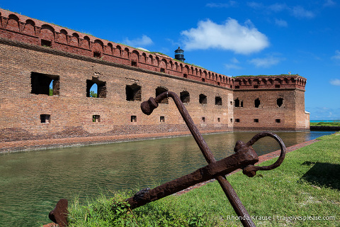 Rusty anchor in front of Fort Jefferson in Tortugas National Park.