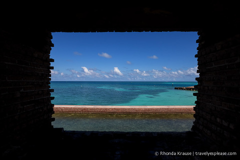 Sea view through a window at Fort Jefferson.