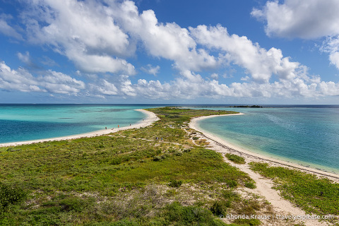 Sand and blue water seen while visiting Dry Tortugas National Park.