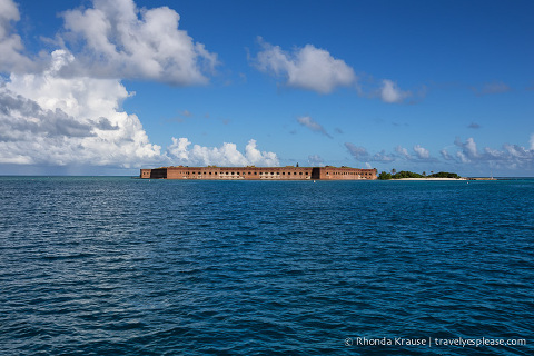 Dry Tortugas National Park and Fort Jefferson seen from a distance as the ferry approaches.