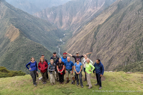 Hikers on the Inca Trail- Group photo near Winay Wayna