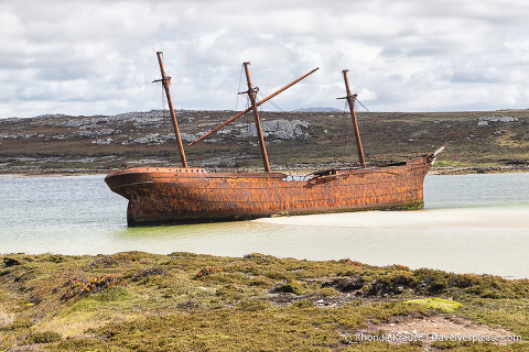 Lady Elizabeth shipwreck seen during a cruise to the Falkland Islands