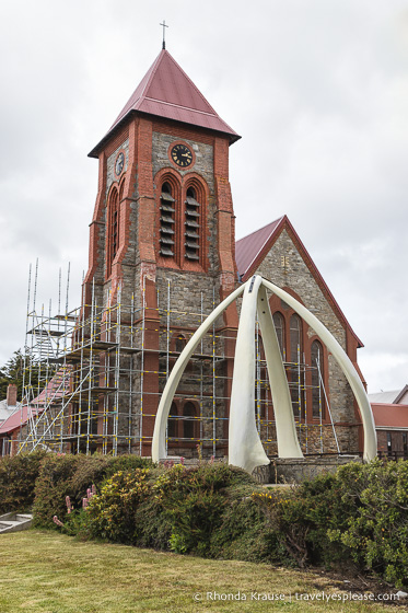 St Mary's Church and the Whalebone Arch seen during a cruise to the Falkland Islands