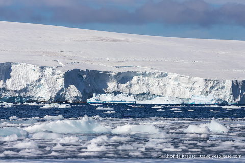 Glacier and brash ice seen on a cruise in Antarctica