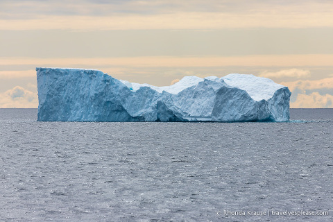 Blue iceberg, a common site on a trip to Antarctica