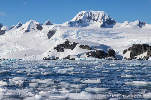 Glaciers and brash ice- Scenery on a trip to Antarctica