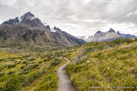 Views of Cerro Paine Grande and Cuernos del Paine on the hiking trail to the French Valley