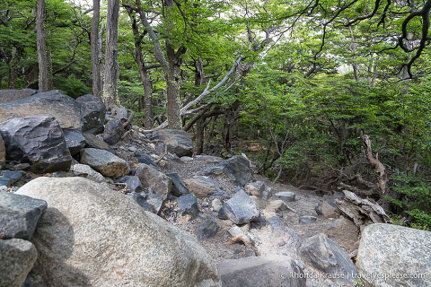 Rocky hiking trail in the French Valley