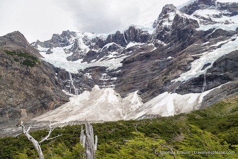 View of the French Glacier from Mirador Frances