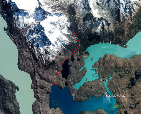 Track log/map of the French Valley day hike in Torres del Paine National Park