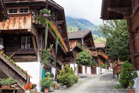 Wooden chalets on Brunngasse- Brienz, Switzerland