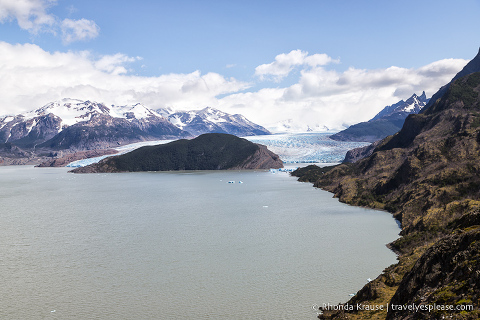 View from Mirador Lago Grey- Grey Glacier in the distance and Lago Grey in the foreground