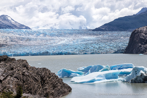 Grey Glacier as seen from a viewpoint at the end of the Grey Glacier hike
