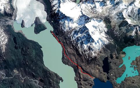 Track log/map of Grey Glacier hike