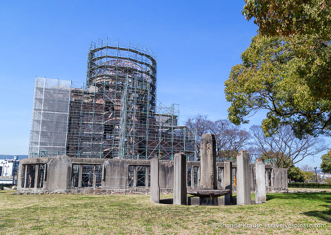 Japan bucket list- Pay respects at the Atomic Bomb Dome (Atomic Bomb Dome covered with scaffolding)