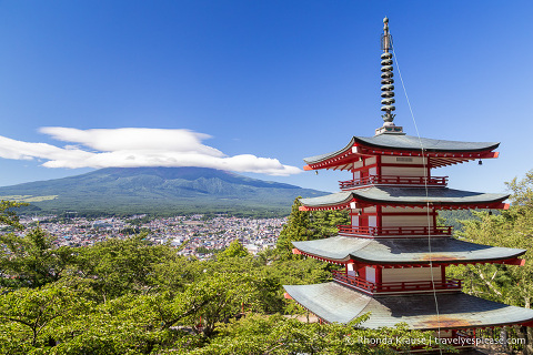 Japan bucket list- See Mt. Fuji (Mt Fuji covered by cloud and the pagoda of Arakura Sengen Shrine)
