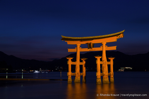 Miyajima's Great Torii illuminated at night