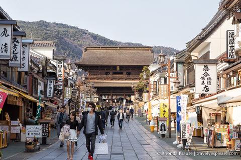 Shop-lined street leading to Zenko-ji Temple in Nagano