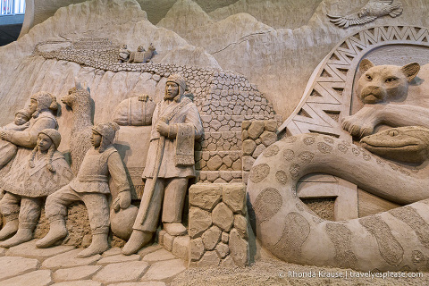 Peruvian themed sand sculpture at the Tottori Sand Museum