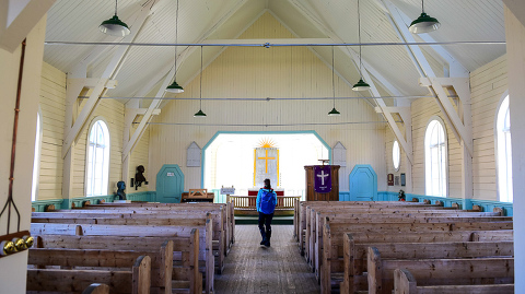 Inside the Whalers' Church in Grytviken