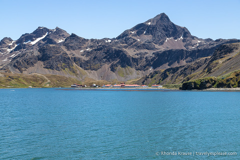 Grytviken backed by rocky mountains