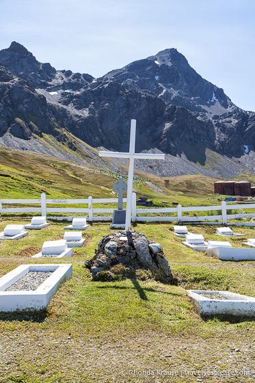 Grytviken Cemetery backed by mountains