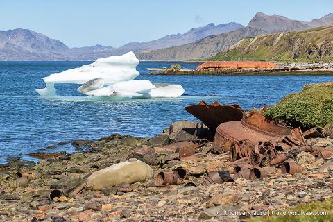 Small iceberg and rusty equipment at Grytviken