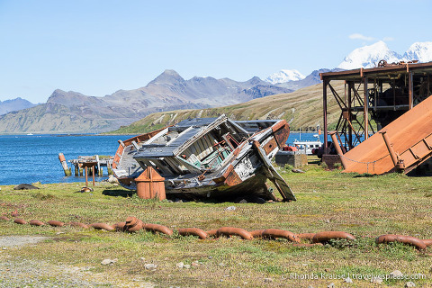 Old boat and ruined building at Grytviken whaling station