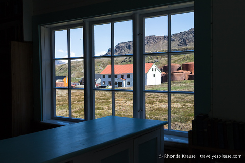 View out the window of the Grytviken Church library