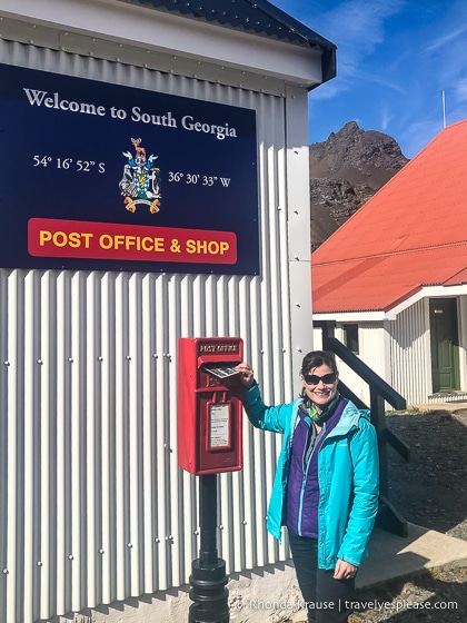 Mailing postcards at the Grytviken post office