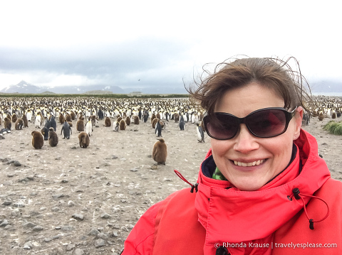 Selfie in front of the penguin colony at Salisbury Plain.