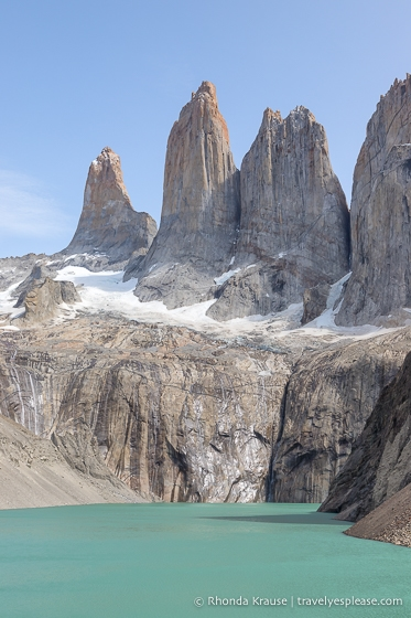 The Torres del Paine as seen from Mirador Base de las Torres.