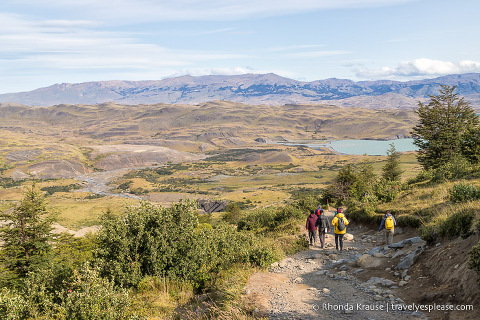 Hiking a section of the W in Torres del Paine National Park.