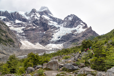 French Glacier and hikers in the valley.