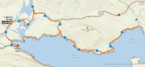 Track log/map of our hike in Tierra del Fuego National Park.