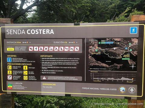 Senda Costera trailhead sign.