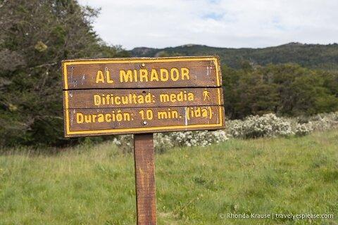 Al Mirador trail sign.