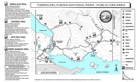Tierra del Fuego National Park map.