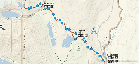 Track log/map of Mount Fitz Roy hike.
