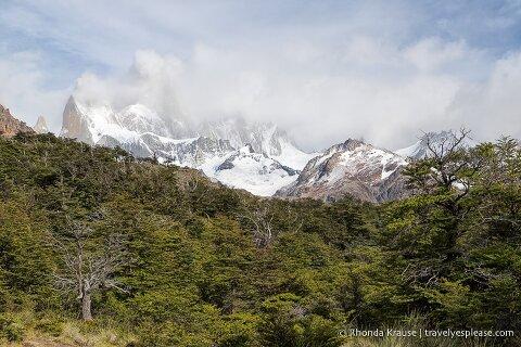 Mount Fitz Roy behind clouds.