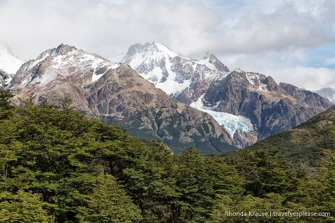 Glaciers on a mountain.