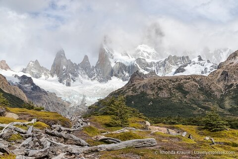Mt. Fitz Roy covered by clouds.