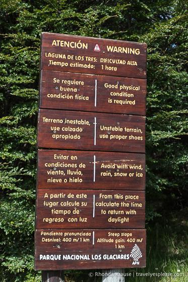 Warning sign at the trail to Laguna de los Tres.