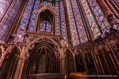 Stained glass inside Sainte-Chapelle.